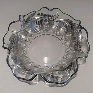 Vintage sterling silver overlay floral large bowl